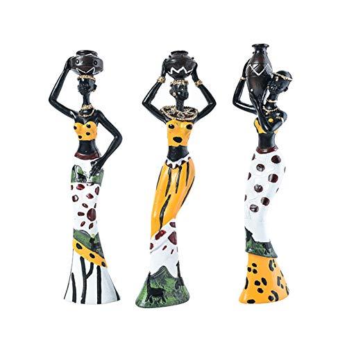 TENKY 3 Unids/Set Escultura de Mujer Figura Africana Decoración de Estatua de Figura de Chica Tribal Decoración de Estatua Coleccionable Adornos de Escritorio