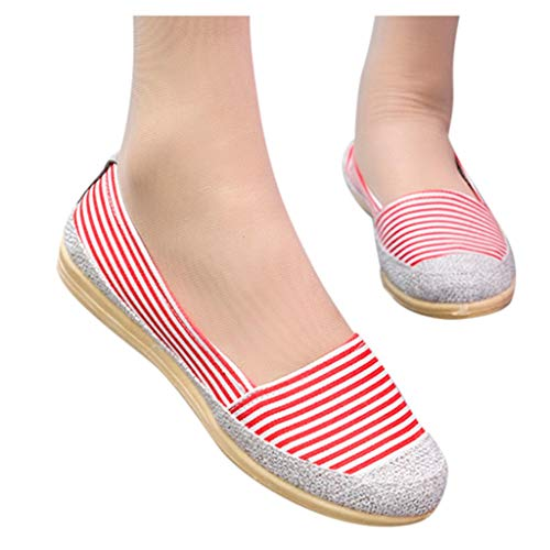 Affordable kaifongfu Women Loafers Cotton Fabric Round Toe Shoes Breathable Lazy Slip-On Casual Sing...