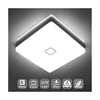 Airand 5000K LED Ceiling Light Flush Mount 24W 12.6in Square LED Ceiling Lamp for Kitchen Bathroom Hallway with 240Pcs LED Chips Without Flicker 2050LM IP44 80Ra+ 180W Equivalent  Daylight White