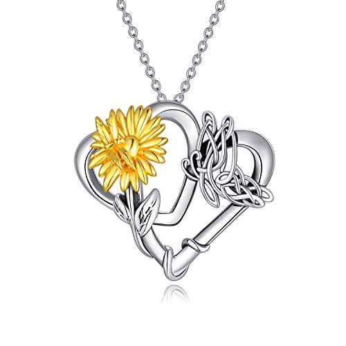 YAFEINI Sunflower Decor Necklace Sterling Silver Celtic Knot Flying Butterfly Love Heart Pendant Necklace for Women