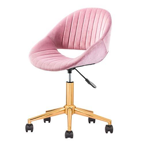 My-Swivel chair Silla de Oficina con Respaldo Medio Silla giratoria ergonómica Silla de computadora de Terciopelo Rosa con Soporte Lumbar, Altura Ajustable, Que Protege su Espalda