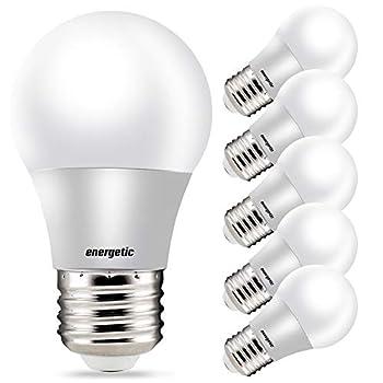 A15 Refrigerator Bulbs 40 Watt Equivalent LED Appliance Light Bulbs Daylight 5000K Dimmable E26 Base UL Listed 6 Pack