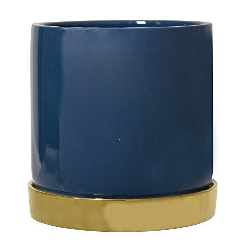 Bloomingville Maceta de loza azul con platillo