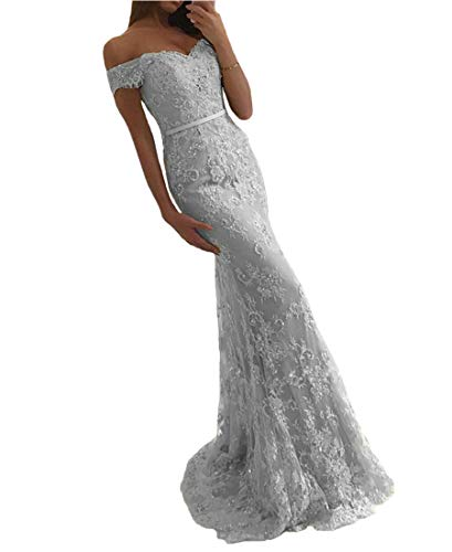 EVANKOU Damen 2019 Elegant Off Shoulder Abendkleid Spitzen Hochzeitskleid Meerjungfrau Ballkleid lang Silber Große 36