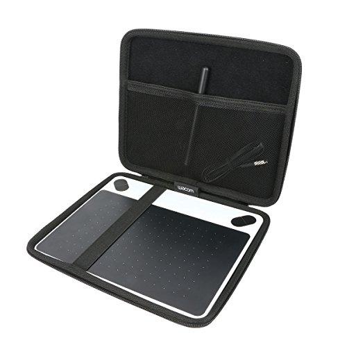 Khanka Hart Tasche + Antifouling Handschuh Für Wacom Intuos S schwarz Stift-Tablett Mobiles Zeichentablett Schutzhülle case.(für Intuos S)