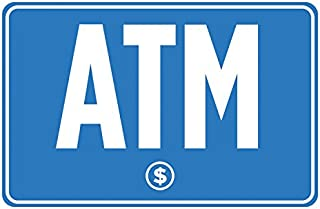 ATM Blue White Print Dollar Symbol Poster Business Store Gas Station Horizontal Window Print Sign