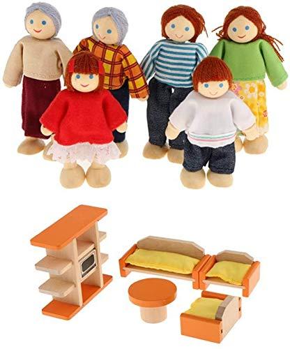 Juego de Muebles de Madera para Sala de Estar y 6 Piezas de muñecas para Miembros de la Familia, casa de muñecas, miniaturas Familiares, Juguete para niños