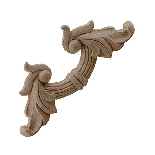 Timesens Carved Unpainted European Exquisite Long Floral Leaves Rubber Furniture Window Corner Wood Applique Onlay Wood Figurines 8cmX8cm4