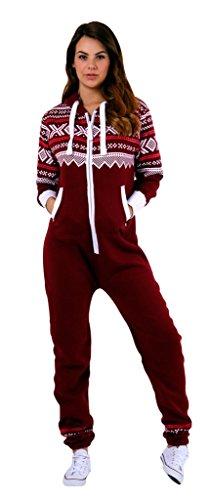 Adult Onesie for Women One Piece Pajama Ladies Jumpsuit Unisex Non Foot Playsuit Aztec Burgundy L