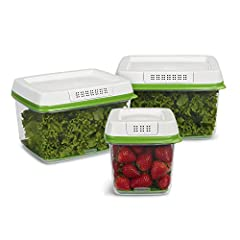 Set of 3 includes one 6.3 cup and two 17.3 cup containers with lids Save money, food, and trips to the grocery stores FreshWorks works best before you wash produce, so you can store now and prep later CrispTray helps keep moisture away from produce t...