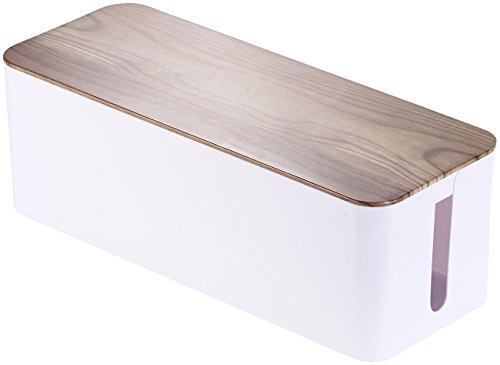 Callstel Kabelaufbewahrung: Kabelbox groß, 39 x 15,5 x 14 cm, in Nussbaum-Holzoptik mit Gummifüßen (Kabelbox Schreibtisch)