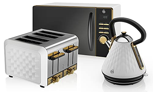Swan Gatsby 800W Microwave, 1.7L Pyramid Kettle and 4-Slice Toaster Set in White, Gold Accents, Diamond Pattern, Easy to Use, STRP1024WHTN
