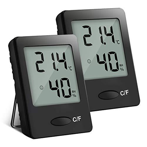 PAIRIER 2 Stück Mini LCD Digitales Thermometer Hygrometer Innen Thermo-Hygrometer Luftfeuchtigkeit Meter für Wohnzimmer Büro (Schwarz)