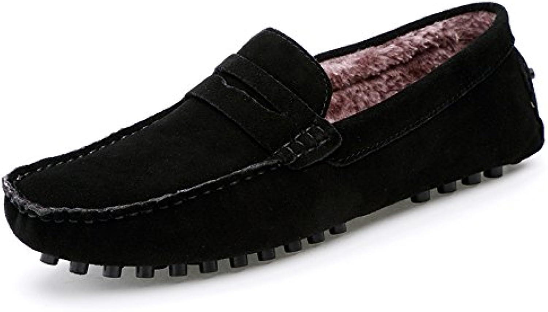 Men's fashion casual bean shoes, peas shoes add velvet, men lazy foot pedal bean shoes,black,Thirty-eight
