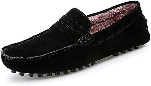 La mode masculine décontracté bean chaussures, chaussures, petits pois chaussures ajouter velvet, hommes paresseux pédale bean chaussures,noir,quarante - six