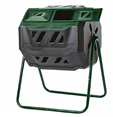 Exaco Trading Company Exaco Mr.Spin Compost Tumbler - 160 Liters / 43 Gallon, Dual Chamber Composter On Two-Leg Stand,Green/Black