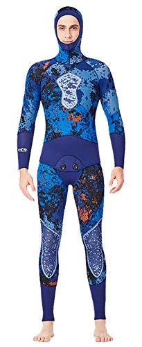 Insun Hombre Traje de Buceo Traje de Pesca en Neopreno 5mm Elástico Dos Piezas Traje de Baño para Buceo Deporte de Agua Azul Camuflaje Hombre XL