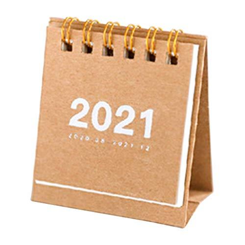 Calendario Multifuncional, 2021 Color sólido Simple Mini Papel de Escritorio Calendario Simple Programador Diario Doble Planificador de Mesa Agenda Anual Organizador-Papel Kraft Color
