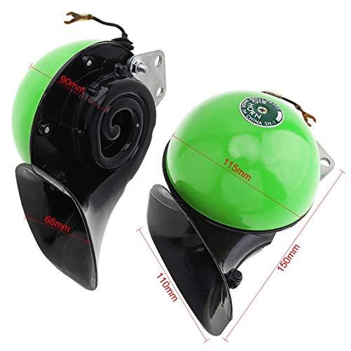 JXXDDQ 48 W 24 V resistente al agua ultra fuerte doble tono caracol coche bocina compacta para SUV, coche, camión, barco, scooter, motocicleta (color: verde)