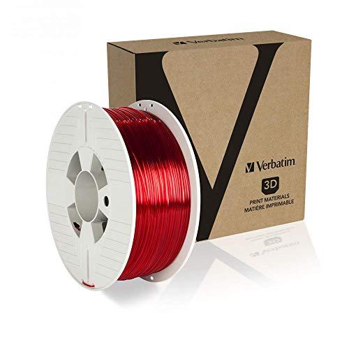 Verbatim 55054 PET-G Filament 1.75 transparent Rot 1kg Spule, Rosso Trasparente