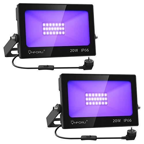 Onforu Lot de 2 Projecteur LED Lumière Noire 20W, IP66 Étan