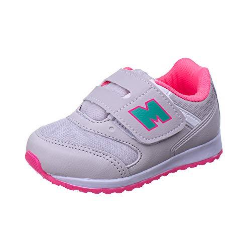 Tenis Infantil Feminino Calce Facil Bebê - AS163 Cor:Cinza Gelo - Pink;Tamanho:26