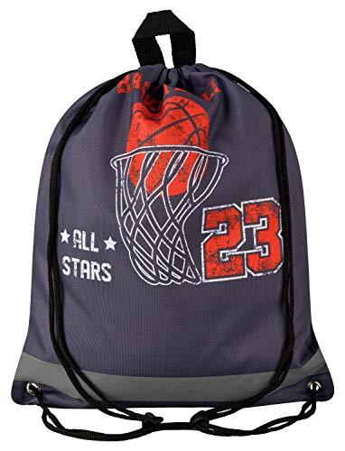 Aminata Kids - Kinder-Turnbeutel für Junge-n und Mädchen American Sports Sport-Tasche-n Gym-Bag Sport-Beutel-Tasche dunkel-grau orange Streetball NBA Schule