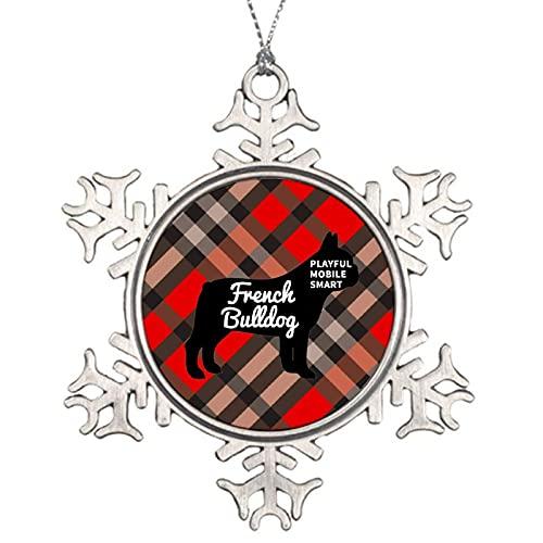 Decorazione natalizia con fiocco di neve e bulldog francese, idea regalo per cani Memoriali di razze di cane ornamento in metallo fiocco di neve albero di Natale appeso decorazione