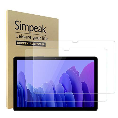 Simpeak 2-Packs Protector Pantalla Compatible para Samsung Galaxy Tab A7 10.4 2020, Cristal Templado Premium Complet Bubble Free/HD/Anti-Huella