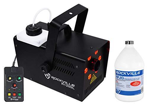 Rockville R1200L Fog/Smoke Machine w LED's, 7 Channel DMX+2 Remotes+Gallon Fluid
