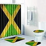 Badezimmerset,Duschvorhang,Toilettenset,Duschvorhangsets 4-teiliges rutschfestes wasserdichtes Badteppichset Sockelteppich + Deckel Toilettendeckel + Bad Gelb-Grün X-Form