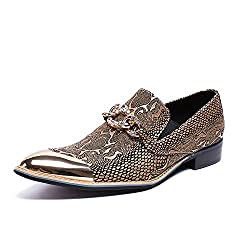 Metal Pointed Toe Irregular Gold Sequins Dress Shoe with Rhinestone