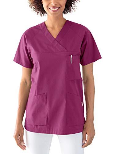 CLINIC DRESS Schlupfkasack Kasack Damen für Krankenpflege und Altenpflege 50% Baumwolle 95 Grad Wäsche Berry M
