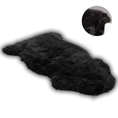 DAOXU Fell Lammfell Schaffell/Sheepskin Rug, Lammfellimitat Flauschigen Teppiche Imitat Kunstfell,Langes Haar Nachahmung Wolle Bettvorleger Sofa Matte (Schwarz, 75 x120 cm)