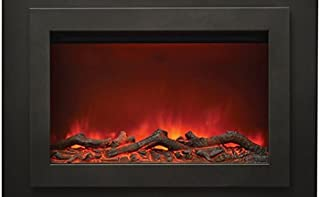 """Sierra Flame Zero Electric Fireplace with 37"""" x 26"""" Black Steel Surround & Overlay"""