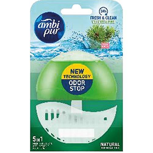 Ambi Pur 12 Stück WC-Lufterfrischer (Halter + Refill 55ml) - Tea Tree & Pine