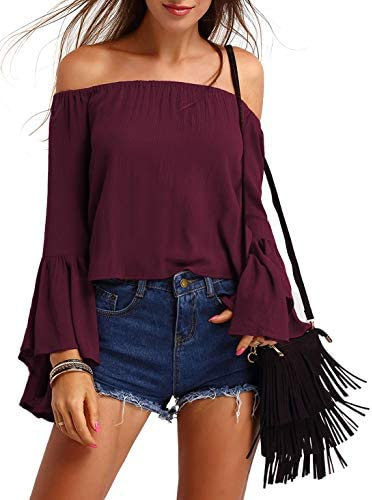 SheIn Women s Sexy Off The Shoulder Flounce Long Sleeve Plain Blouse Top Burgundy Large product image
