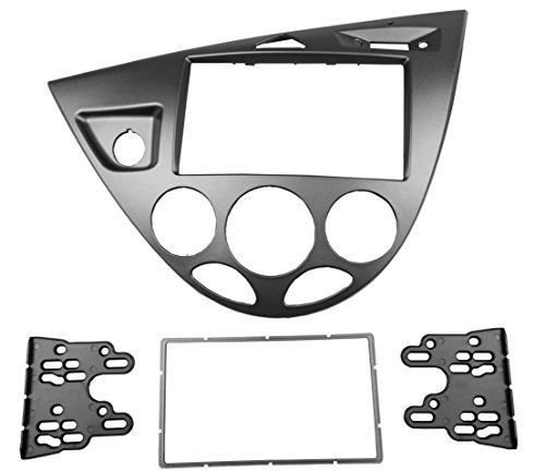 MAXIOU - Mascherina per autoradio a doppio DIN per Focus Fiesta Stereo Face Plate Frame Panel Dash Mount Trim Kit adattatore lunetta frontale (argento)