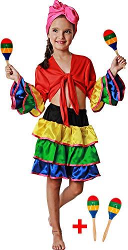 Gojoy shop- Disfraz de Brasileña para Niñas Carnaval (Contiene Pañuelo Camiseta y Falda, 4 Tallas Diferentes) (3-4 año)