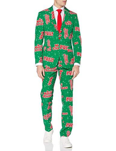 OppoSuits Weihnachtsanzüge für Herren – Besteht aus Sakko, Hose und Krawatte, Happy Hollidude, 50 EU