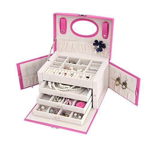 ZRJ Joyero organizador de gran capacidad para joyas, 3 cajones, collares, anillos, organizador rosa (color rosa