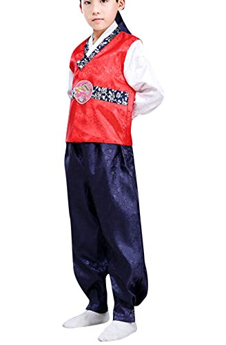 CRB Fashion Korean Traditional Outfit Boys Toddler Teens Mens Dolbok Hanbok Teenagers Kids Children Celebration Top Pants Costume (Height 140cm, Red)