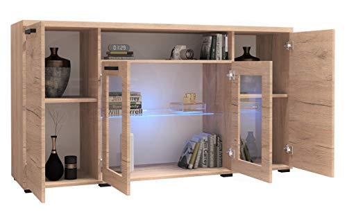 MG Home Möbel zum Wohnzimmer Möbelset Kommode Sideboard Vitrine Vitrinenschrank Mit Oder Ohne LED-Beleuchtung K03 (San Remo, Ohne LED-Beleuchtung)