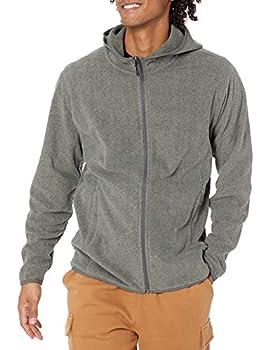 Amazon Essentials Men s Long-sleeve Hooded Full-zip Polar Fleece Jacket Charcoal Heather Large