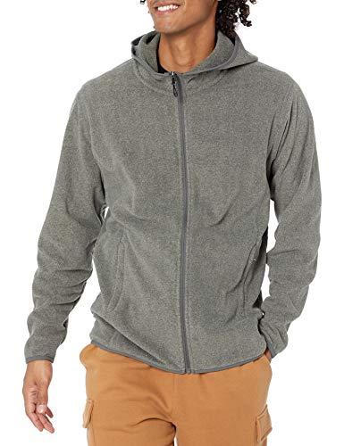 Amazon Essentials Men's Long-sleeve Hooded Full-zip Polar Fleece Jacket, Charcoal Heather, Medium