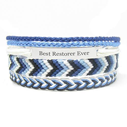 Miiras Job Handmade Bracelet for Women - Best Restorer Ever - Blue 1 - Made of Embroidery Thread and Stainless Steel - Gift for Restorer