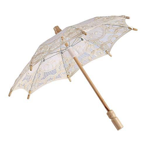 BLLBOO regenschirm elfenbein sonnenschirm spitze-Spitze Regenschirm - Dame Hochzeit Spitze Regenschirm Sonnenschirm Sonnenschirme Party Braut Foto Foto Dekoration(S-Elfenbein)