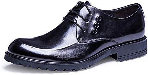 Yao schuhe Casuales schuhe Planos de Cuero schuhe de Negocios Casuales Oxford con Cordones para herren (Farbe   schwarz, Größe   43-EU)