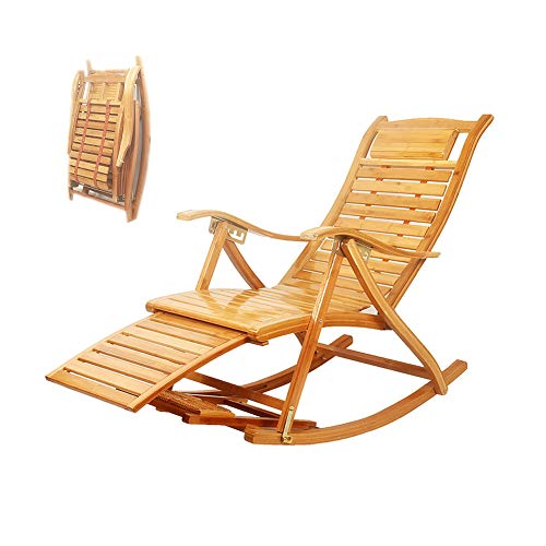 Nurth 3-in-1 Adirondack Chair Foldable/Wooden Rocking Chairs/Sun Lounger Chairs & Recliners Outdoor Folding Rocker Made of Bamboo, with armrest Foot Massage Pillow, Portable Deck Recliner(Wood Color)