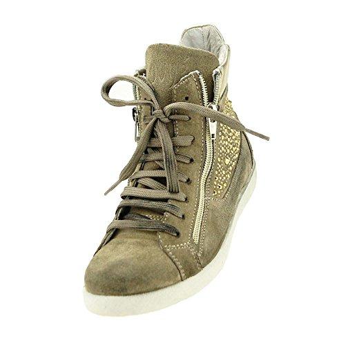 Ovye by Cristina Lucchi Damen Sneaker Echtleder Wildleder Schuhe Strasssteine Halbschuhe Hand Made in Italy (36, Beige-Platin)
